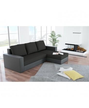 Canapé d'angle convertible réversible ARION noir