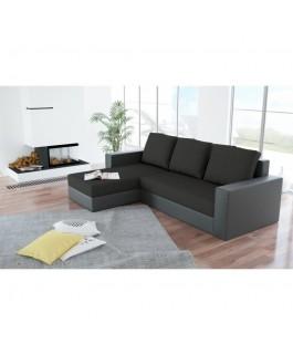 Canapé d'angle convertible réversible noir