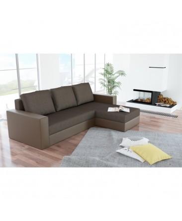Canapé d'angle convertible réversible ARION brun