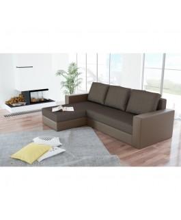 Canapé d'angle convertible réversible ARION marron