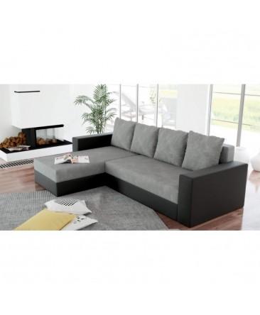 Canapé d'angle convertible réversible ARION noir gris