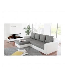 Canapé d'angle convertible réversible ARION blanc gris