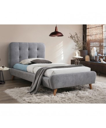 Lit Scandinave Velours Gris Tiffany