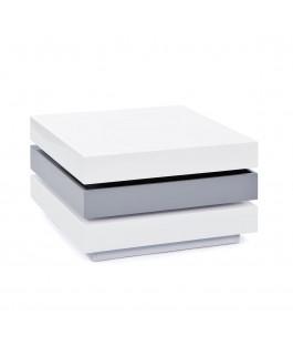 Table basse pivotante blanc gris TRILO