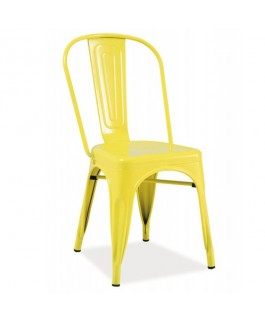 Chaise industrielle jaune