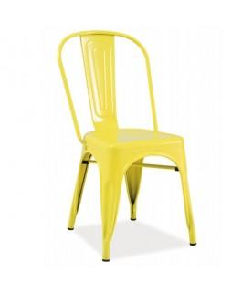 Chaise industrielle jaune