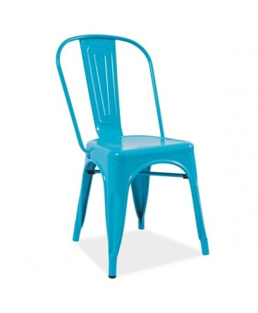 Chaise industrielle bleu