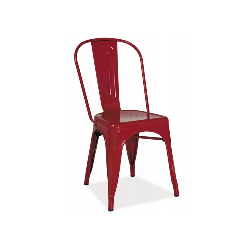 Chaise industrielle rouge