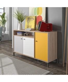 commode rangement nordique colorée fabrication française porte coulissantes gris blanc jaune kristian