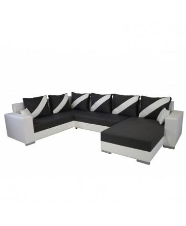 canapé panoramique convertible en lit revêtement bi-matière bi-couleur blanc finitions de qualité taupe kemira