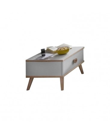 table de chevet scandinave avec un tiroir blanc et bois youna