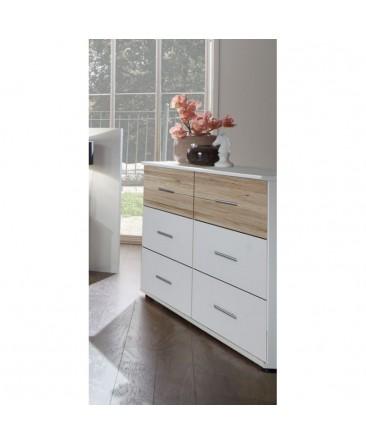 commode à tiroirs blanc et imitation chêne ziska
