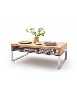 table basse design bois  avec tiroir en verre hilo