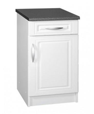 meuble cuisine bas 1 porte 1 tiroir 50cm blanc dina. Black Bedroom Furniture Sets. Home Design Ideas