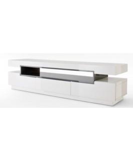 meuble télé moderne 3 tiroirs et surface de rangement en blanc laqué lore