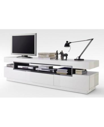 meuble télé tiroirs et espace de rangement blanc laqué lore