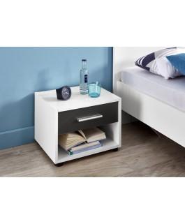 table de chevet blanc et gris avec tiroir et espace de rangement