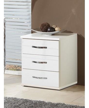 table de chevet design 3 tiroirs blanc torino