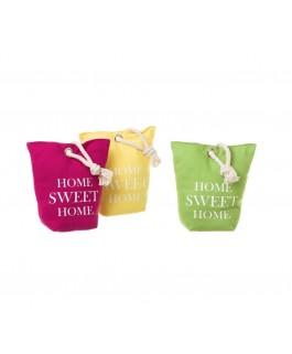 3 butoirs de porte home sweet home en tissu et sable framboise vert et jaune