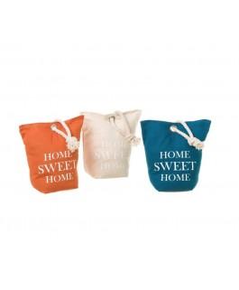 sacs décox 3 butoirs de porte orange ivoire et bleu en tissu + sable