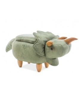 pouf dinosaure original avec coffre de rangement ivoire et vert victor