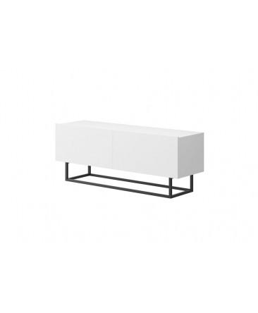 meuble télé blanc ultra moderne avec 2 espaces de rangements enjoy