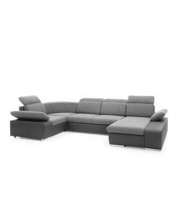 canapé panoramique convertible design et élégant gris clair épuré 4-5 places ou 7-8 places ODESSA II