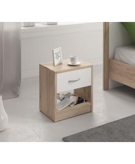 chevet bois et blanc avec tiroir et espace de rangement rocha