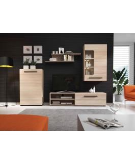 ensemble meuble TV avec led en bois une étagère + une vitrine murale + meuble de rangement britta