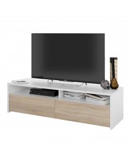 meuble TV scandinave en bois avec compartiments rangement kioto