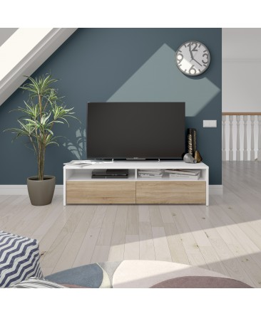 meuble TV design bois et blanc kioto