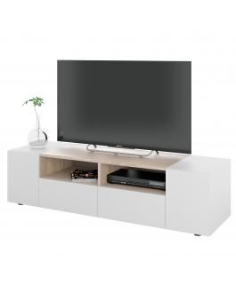 meuble télé contemporain blanc/bois tamiko