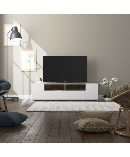 meuble TV 140 cm contemporain blanc/bois tamiko