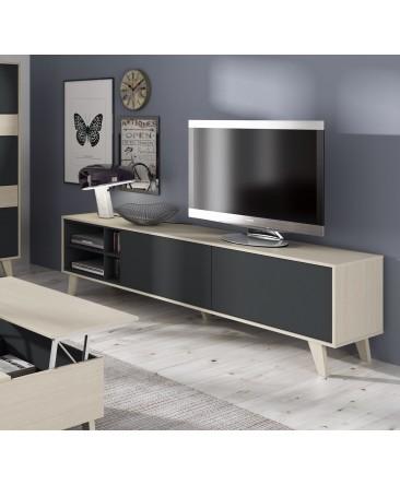meuble TV scandinave anthracite bois blanc zaiki
