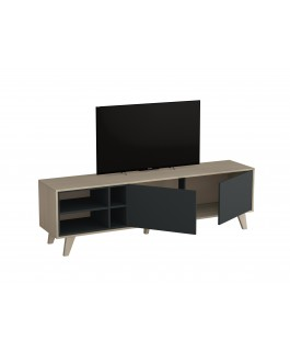 meuble télé moderne anthracite 2 portes et 4 niches de rangement zaiki