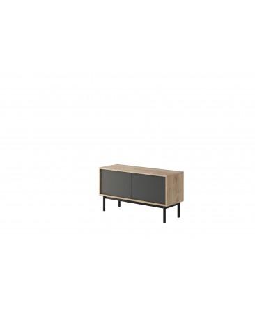 meuble tv industriel 104 cm bois anthracite basil