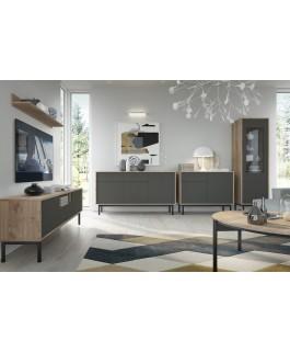 meuble TV et commode en bis et gris multi espaces de rangements basil