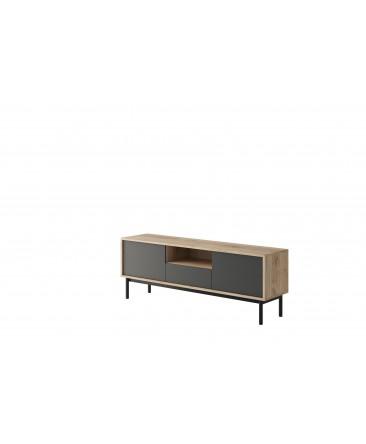 meuble TV 154 cm bois anthracite avec rangements et tiroirs basil