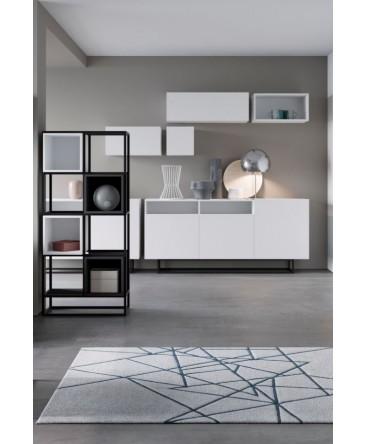 ensemble meubles salle à manger avec bibliothèque étagère et commode 180 cm bois anthracite blanc enjoy