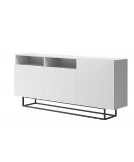 commode blanc 180 cm + rangements style industriel 180 cm enjoy