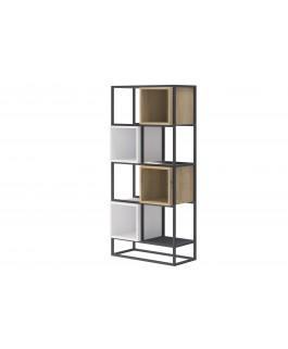 étagère bibliothèque style new-yorkais en métal avec espaces de rangement enjoy