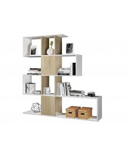 étagère asymétrique en forme d'escalier aux ton clairs et en bois zig zag