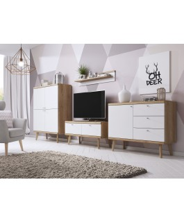 ensemble vitrine + commode + meuble TV en bois primo