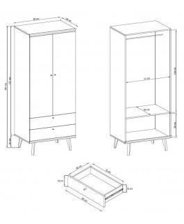 armoire avec rangement 80 cm primo