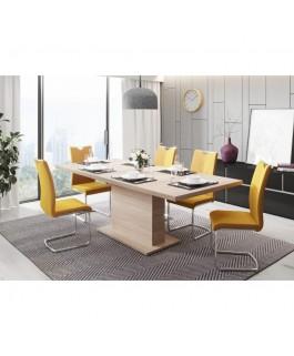 table bois contemporaine de 160 cm avec une allonge de 40 cm rallongeant la table jusqu'à 200 cm