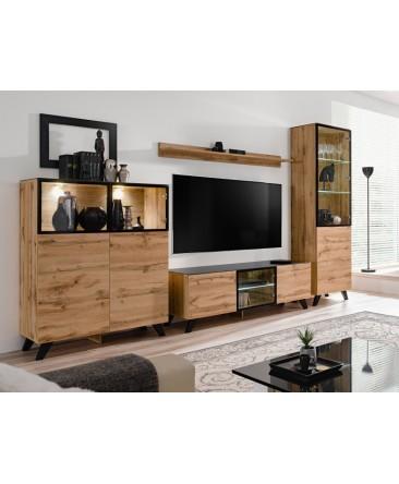 ensemble meuble tv industriel noir et wotan