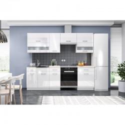 cuisine complète blanc laqué 240 cm plan de travail poignées étagères laquées meubles hauts et meubles bas marbella