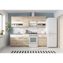 cuisine complète 240 cm bois/blanc marbella rangements meubles bas et hauts armoires plan de travail étagères