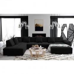 grand canapé d'angle panoramique ATIS de couleur noire 6-8 place