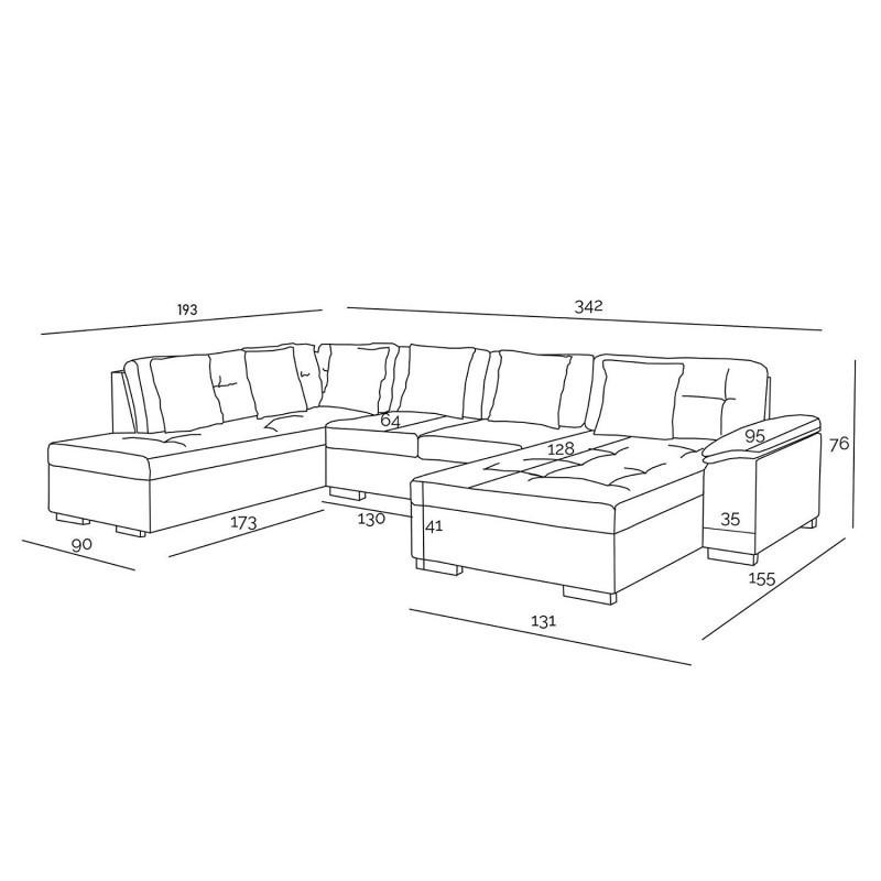 plan canapé ATIS 6-8 place avec dimensions en image